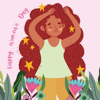 Happy womens day cute girl with stars long hair and flowers illustration