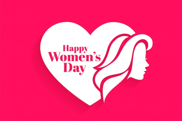 Happy womens day face and heart greeting card