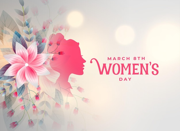 Happy womens day flower decorative card