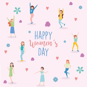 Happy womens day girls cartoons flowers and hearts design of woman empowerment theme  illustration