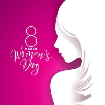 섹시 한 젊은 여성의 실루엣으로 행복 한 여성의 날 인사말 카드 디자인.
