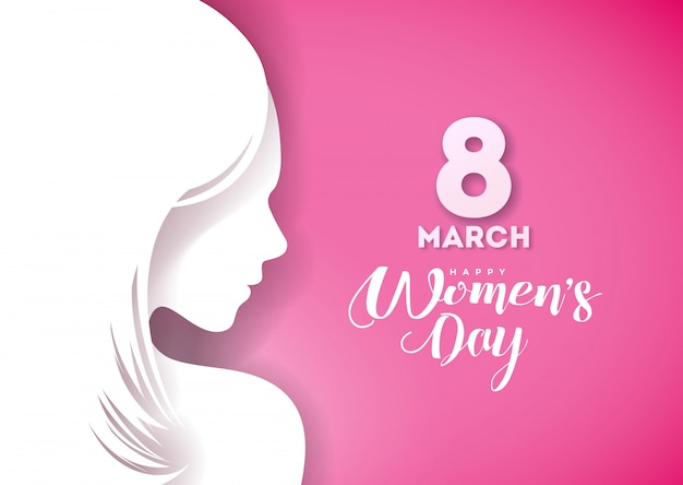 Happy womens day greeting card design with sexy young woman silhouette.