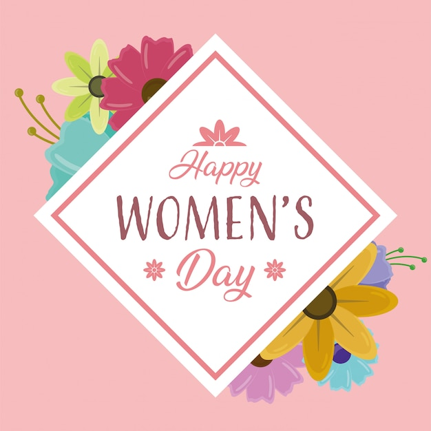 Happy womens day greeting card with flowers on pink background