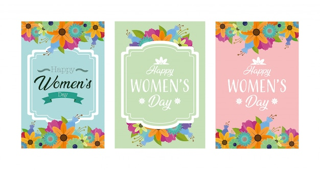 Happy womens day greeting card with flowers