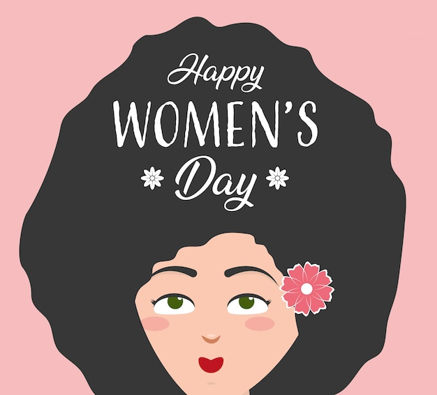 Happy womens day greeting card, woman with long afro hair and flower