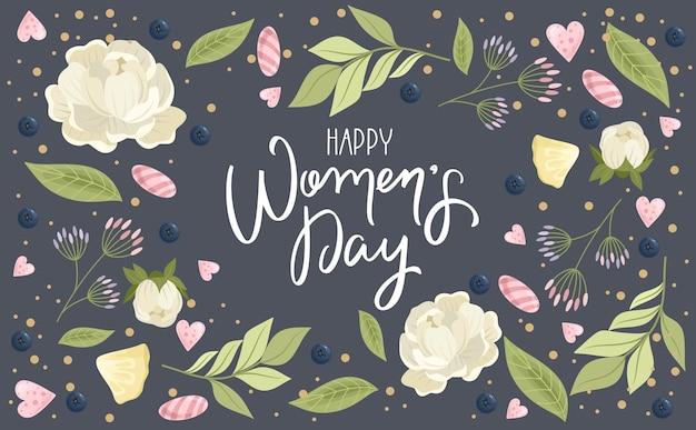 손으로 그린 꽃 배경으로 해피 여성의 날 인사말