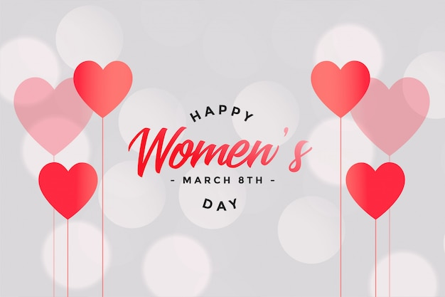 Happy womens day hearts and bokeh background