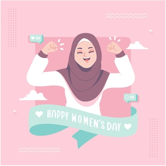 Happy womens day islamic concept illustration background