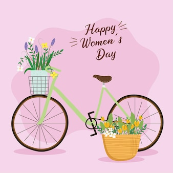 Happy womens day lettering card with flowers in bicycle  illustration
