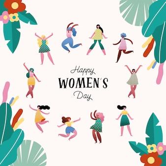 Счастливый женский день надписи открытка с девушками и цветочной рамкой иллюстрации