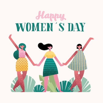Happy womens day lettering card with girls in the camp  illustration