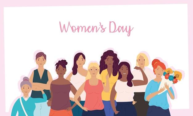 여자 캐릭터 일러스트의 그룹과 함께 행복 한 여성의 날 레터링 카드