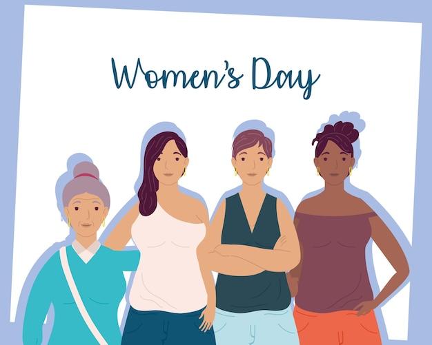 여성 캐릭터 일러스트 그룹과 함께 행복 한 여성의 날 레터링 카드