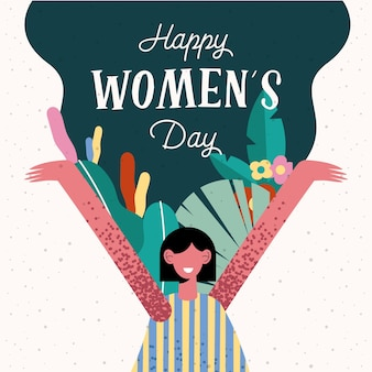 Happy womens day lettering card with happy woman and flowers  illustration