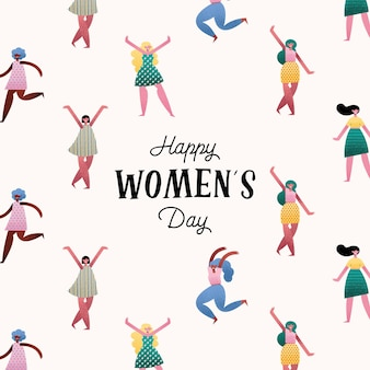 Happy womens day lettering card with pattern girls  illustration