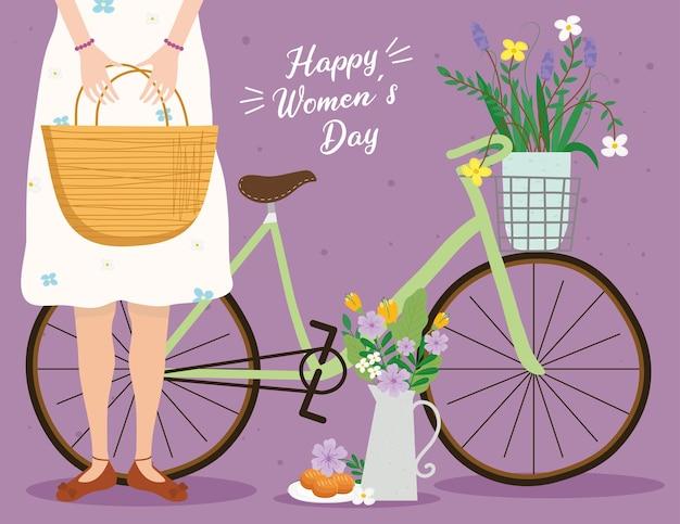 Открытка с надписью счастливого женского дня с женщиной, поднимающей корзину и велосипедную иллюстрацию