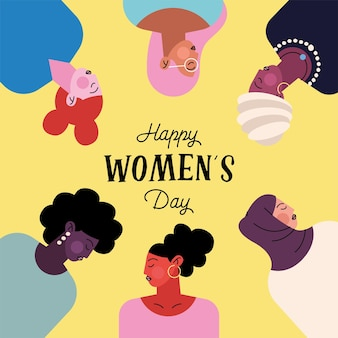 Happy womens day lettering with group of six ladies characters  illustration