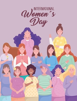 Happy womens day lettering with interracial group of girls  illustration