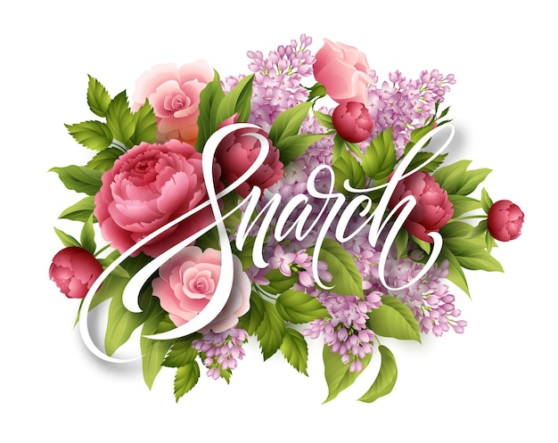 Happy womens day on march 8. design of modern hand calligraphy with flower.