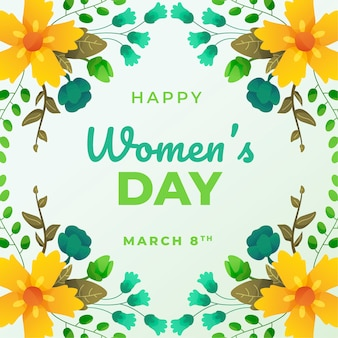 Happy womens day message with floral theme