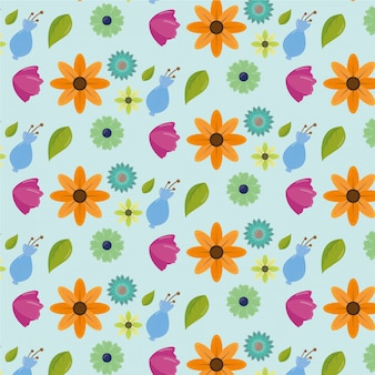Happy womens day pattern with flowers and leaves Free Vector