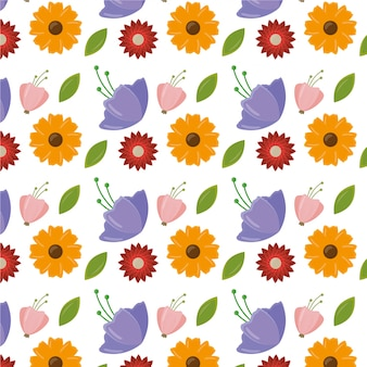 Happy womens day pattern with leaves and flowers