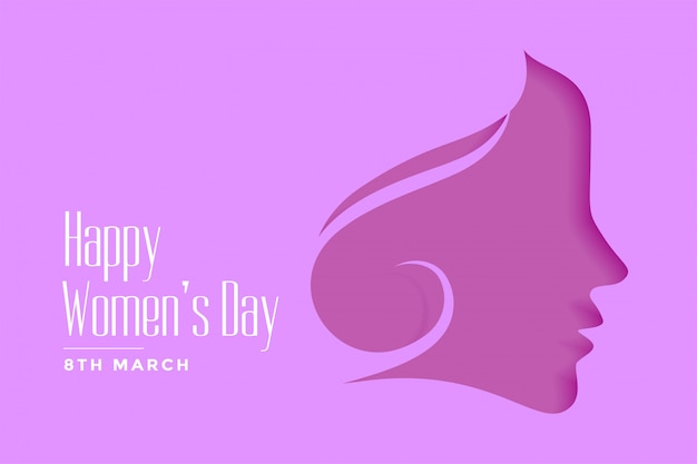 Happy womens day purple papercut style background