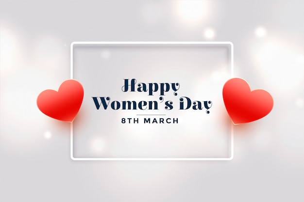 Happy womens day red hearts greeting card