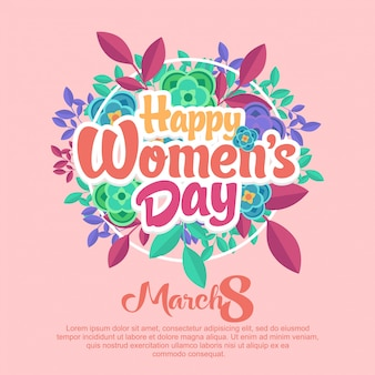 Happy womens day rounded flowers