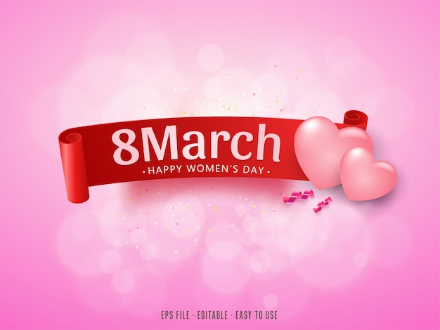 Happy womens day with ribbon and hearts