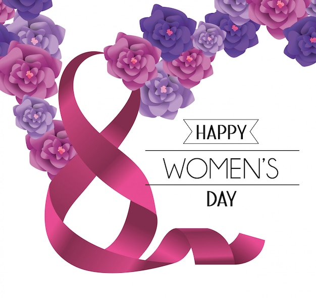 Happy womens day with roses and ribbon eight decoration