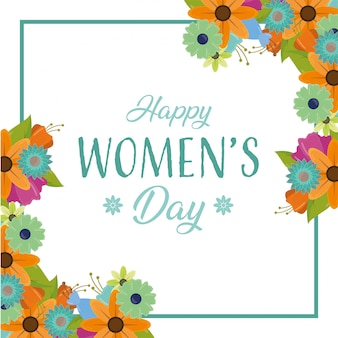 Happy womens greeting card, day frame with flowers