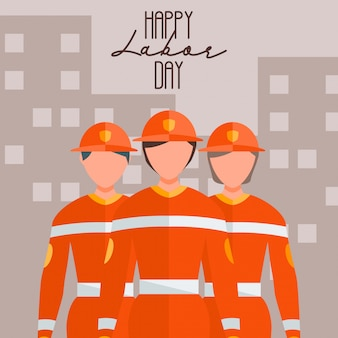 幸せな労働者労働日