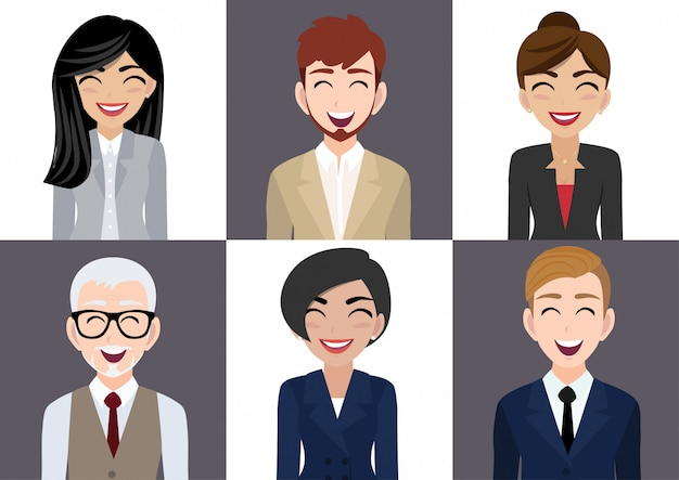 Happy workplace with smiling men and women cartoon character in office clothes