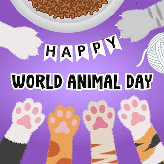 Happy world animal day greeting from kittens background
