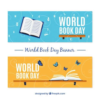 Happy world book day banners in flat design