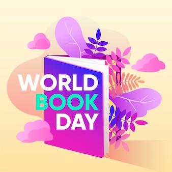 幸せな世界の本の日帳と植物