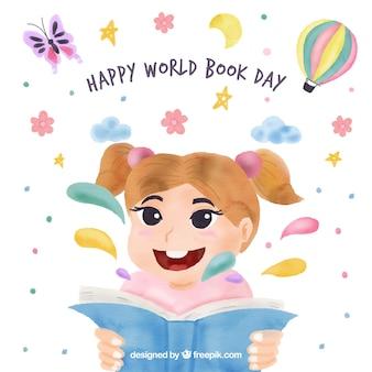 Fondo sveglio di giorno felice del libro del mondo