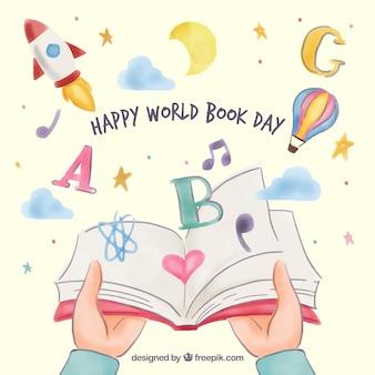 Priorità bassa piacevole di giorno felice del libro del mondo