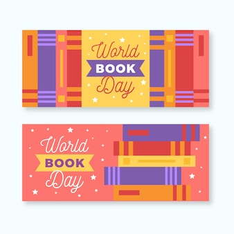 Happy world book day piles of books banners