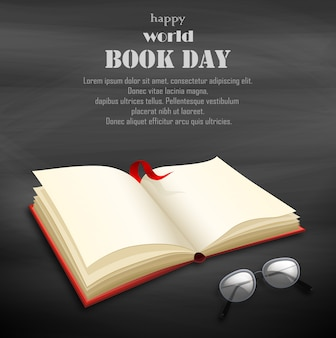 Happy world book day with blank book