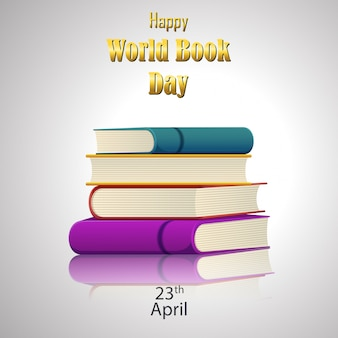 Happy world book day with stack of books on white background