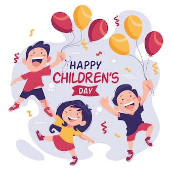 Happy world children's day playing with balloons