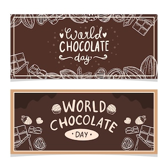 Happy world chocolate day poster banner design vector illustration