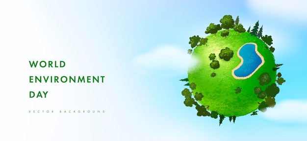 Happy world environment day card with earth