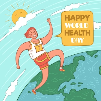 Happy world health day with person running