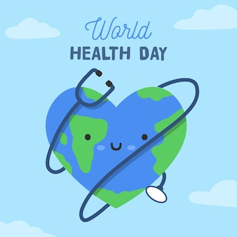 Happy world health day with smiley face and stethoscope