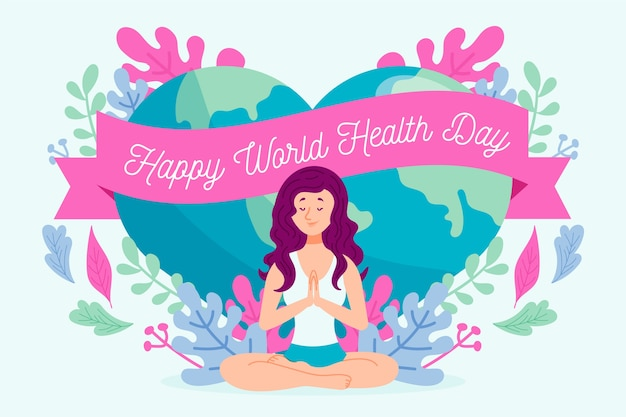 Happy world health day with woman doing yoga