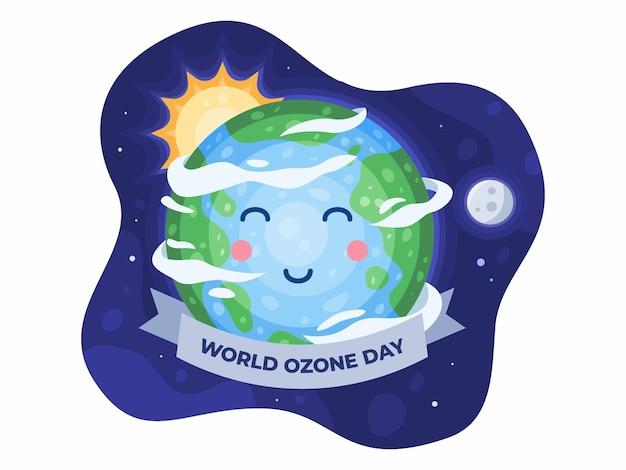 かわいい地球の漫画イラストで9月16日の幸せな世界オゾンの日幸せな地球の日