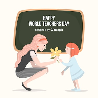 Happy world teacher's day background with female teacher and blackboard